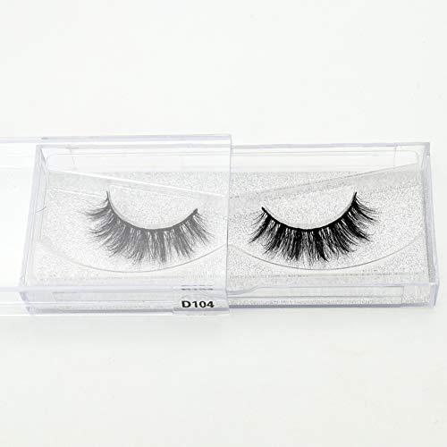 HLWJ. Handgemachte Eye Lashes 3D-Echt Makeup Starke gefälschte falsche Wimpern mit Glitter Verpackung (Color : D104)