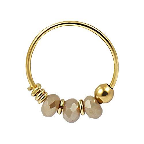 9K Solid Gelb Gold Triple grau Kristall Perle 22 Gauge Hoop Nase Piercing Ring Schmuck