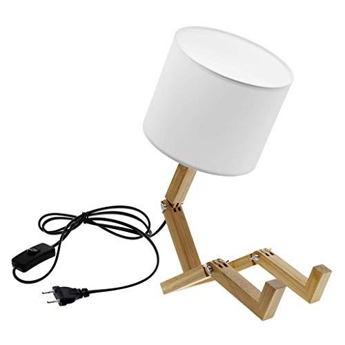 JYDQM Estantería de Madera Lámpara de fábula Personalidad Pequeño Robot Lámpara de Mesa Lámpara de Mesa de Tela Estudio en el hogar Dormitorio Mesita de Noche