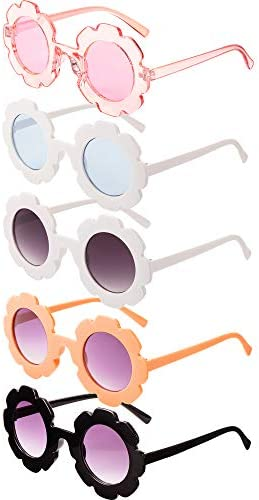5 Pairs Kids Sunglasses Cute Round Sunglasses Flower Shaped Glasses Children Girl Boy Gifts product image