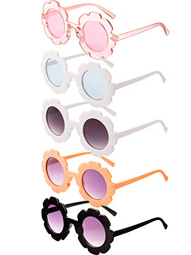 5 Pairs Kids Sunglasses Cute Round Sunglasses Flower Shaped Glasses Children Girl Boy Gifts