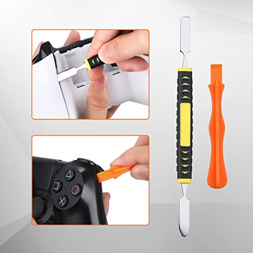 Repair Kit for xbox one/360/X PS4 PS3 PS5, JOREST 25pcs kit with PH0 and T6 T8 T10 Torx Security Screwdriver, Crowbars, Tweezers, Brush, Grip Caps, Screws, Cleaning Tool for Controller and Console