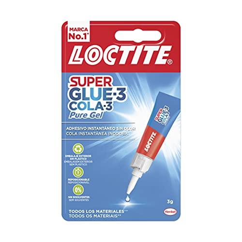 Loctite Super Glue-3 Pure Gel, cola transparente y resistente, pegamento fuerte en gel que no pega los dedos inmediatamente, adhesivo reposicionable , 1 x 3 g, tubo