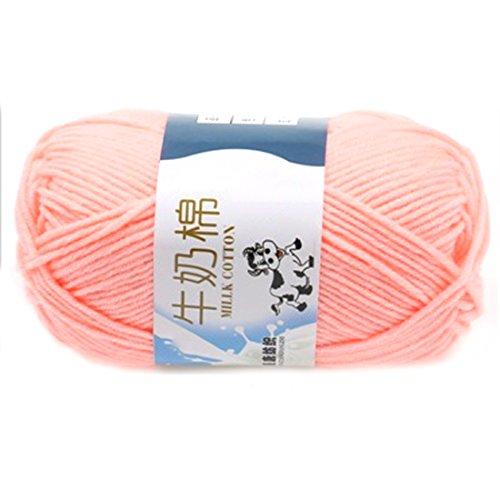 Suave Suave Leche de algodón natural de la mano de tejer lana de lana bola del hilado del bebé para naves de carne rosada