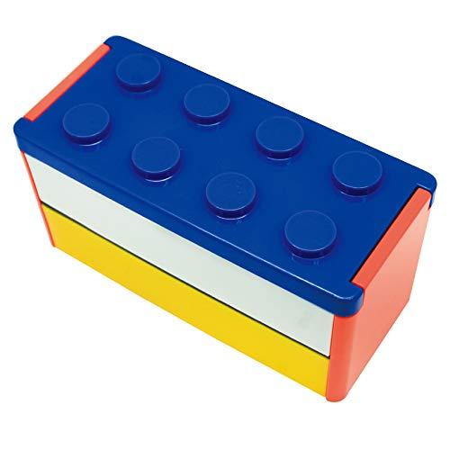 プライムナカムラ ロック式ブロック2段弁当箱 (BL) 日本製 デザイン ロック ギフト プレゼント ランチベルト不要 レンジ対応 食洗器対応 箸付き 弁当箱 2段 こども 男の子 男子 女の子 女子 おしゃれ (660ml)