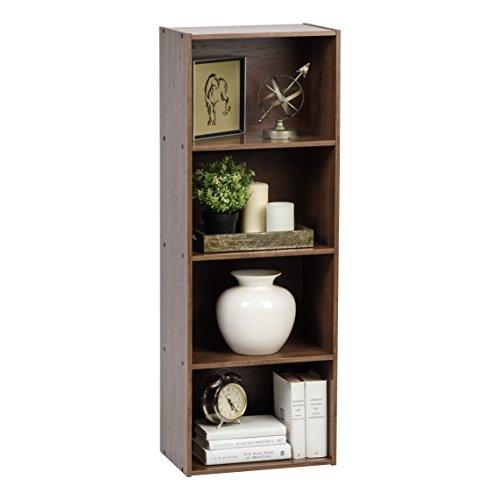 IRIS USA 4-Tier Wood Storage Shelf, Dark Brown