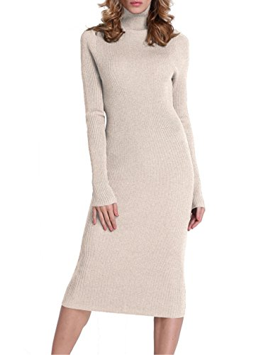 Rocorose Women's Turtleneck Ribbed Elbow Long Sleeve Knit Sweater Dress Apricot XL