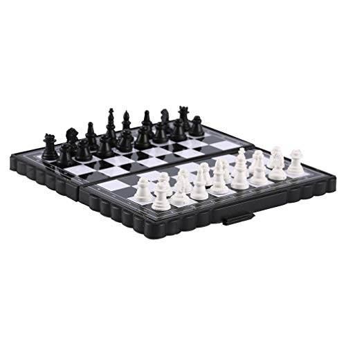 Kinshops 1 Set Mini Magnetic Plastic Folding Chess Board Chess Board Game Portable Toy For Children Folded Magnetic Chess