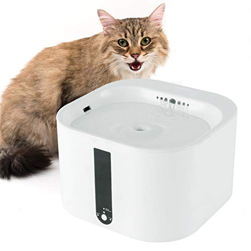 ARELLA Cat Water Fountain 2L Automatic Smart Pet Water Drinking Fountain Cat Water Dispenser with Filter 2 Working Mode Super Quiet Water-Shortage/Filter Replacement Reminder PDF01W