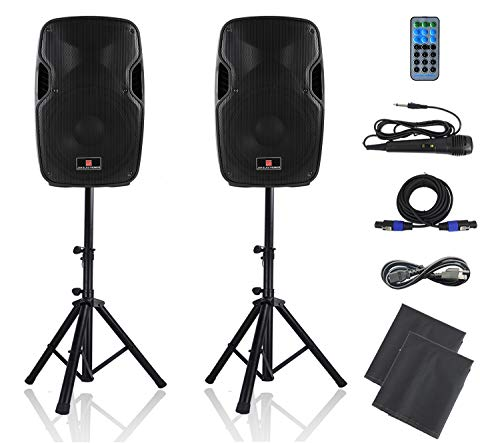 PA Speakers Bluetooth System 12 Inch Active & Passive Powered Speakers With MP3/USB/SD/FM Radio/AUX INPUT.Wired Microphone,Speaker Stands,Remote Control,Dust bags.