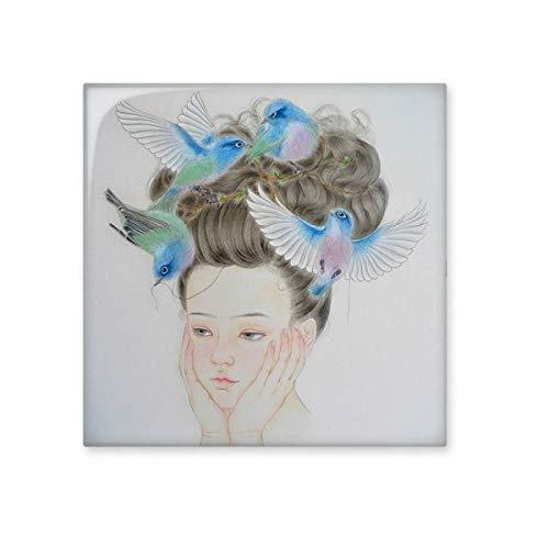 DIYthinker Pretty Girl Blue Bird Peinture Chinoise en céramique Bisque Carrelage Salle de Bains Décor de Cuisine Carreaux de céramique Carreaux Moyen