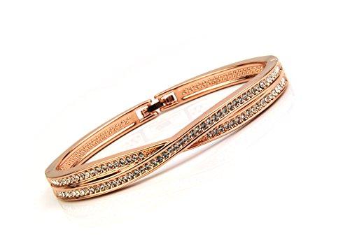 XL Rose Gold Double Cross Bangle Bracelet Folder Clasp up to 7.5'