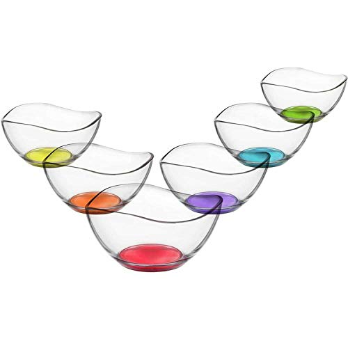 LAV Vira 6-Piece Glass Dish Set with Coloured Bases, Dishes, Glass Dish, Dessert Bowl, Coloured Glass Bowl, Starter Glass Glasses 310ml (Kitchen & Home)