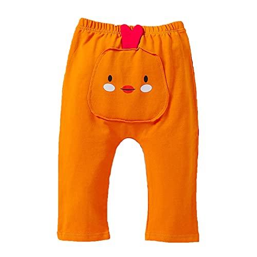 Newborn to Toddler Unisex Baby Pants Cute Animal Cartoon Butt Jogger Pants Orange