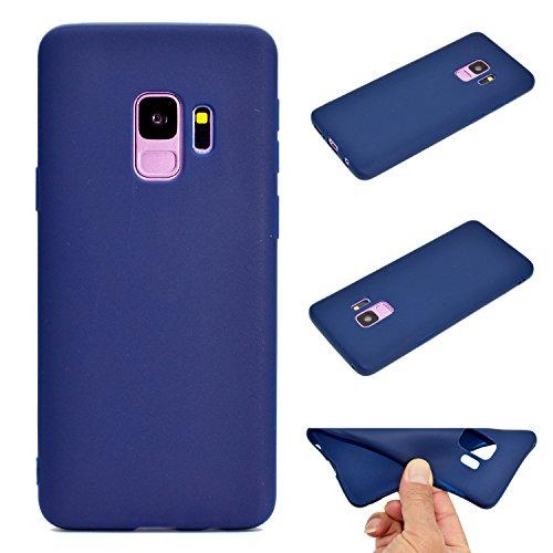 LeviDo Coque Compatible pour Samsung Galaxy S9 Étui Silicone Souple Bumper Antichoc TPU Gel Ultra Fine Mince Caoutchouc Bonbons Couleurs Design Etui Cover, Bleu Foncé