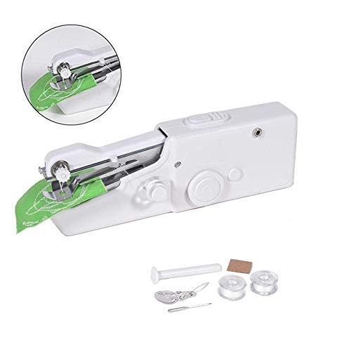 FULUWA Mini Portátil Máquinas de Coser, Manual Portátil Herramienta de Puntada Rápida para Tela, Ropa o Tela de Niños (batería no incluida)