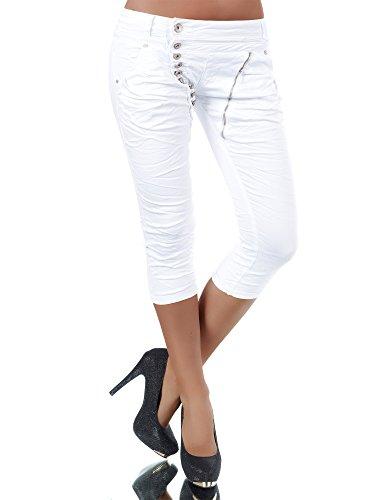 Damen 3/4 Capri Jeans Hose Shorts Damenjeans Hüftjeans Caprijeans Boyfriend N123, Farben:Weiß, Größen:40 (L)