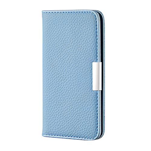 Sweau beschermhoes voor iPhone X/XS, automatische klep, magnetisch, ultradun, beschermhoes van PU-leer en TPU, schokbestendig, compatibel met iPhone X/XS, Lichtblauw