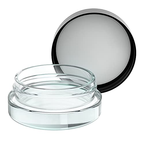 90pcs Thick Bottom Low Profile 7ml Glass Jars with Black Lids : Air tight container (Black Lids)