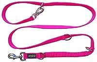 ASCO Laisse pour Chien avec Amortisseur, Laisse de Dressage Robuste réglable en 4 Longueurs, lanière Premium également adaptée aux Grands Chiens, 100-200 cm en Couleurs fluorescentes