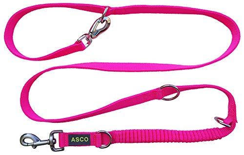 ASCO Hundeleine mit Ruckdämpfer, robuste Trainingsleine verstellbar in 4 Längen, Premium Führleine auch für große Hunde, 100-200 cm, neon pink AC08L