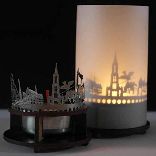 13gramm ULM-Skyline Windlicht Schattenspiel Premium Geschenk-Box Souvenir, inkl. Kerzenhalter, Kerze, Projektionsschirm und Teelicht