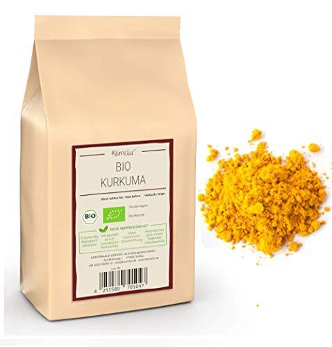 BIO Kurkuma Pulver - 1kg - Curcuma Pulver Bio aus kontrolliert biologischem Anbau - reines Kurkumapulver ohne jegliche Zusätze in biologisch abbaubaerer Verpackung