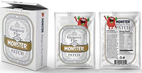 Monster Hangover Prevention 30 Patches MEGA Supply with Carry Box Vitamins 12 enriched to aid product image