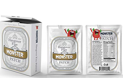 Monster Hangover Prevention 30 Patches MEGA Supply with Carry Box. Vitamins (12) enriched to aid in Alcohol Recovery for The Morning After. Feel Awesome Tomorrow
