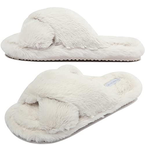Donna Pantofole Invernali in Pelliccia con Punta Aperta Comode Ciabatte in Memory Foam Calde Pantofole Antiscivolo da Casa per Interni e Esterni Crema 37