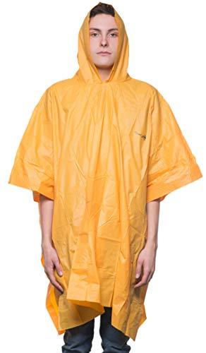 Leichter Regen Poncho mit Rucksack Abdeckung, 3/4 Arm, Orange, 39082