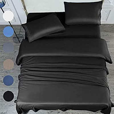 SONORO KATE Bed Sheet Set Super Soft Microfiber 1700 Thread Count Luxury Egyptian Sheets 16-Inch Deep Pocket?Wrinkle and Hypoallergenic-4 Piece (Black, Queen)
