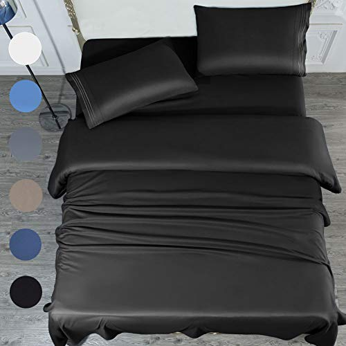 SONORO KATE Bed Sheet Set Super Soft Microfiber 1700 Thread Count Luxury Egyptian Sheets 16-Inch Deep Pocket,Wrinkle-4 Piece Queen Size(Black, Queen)