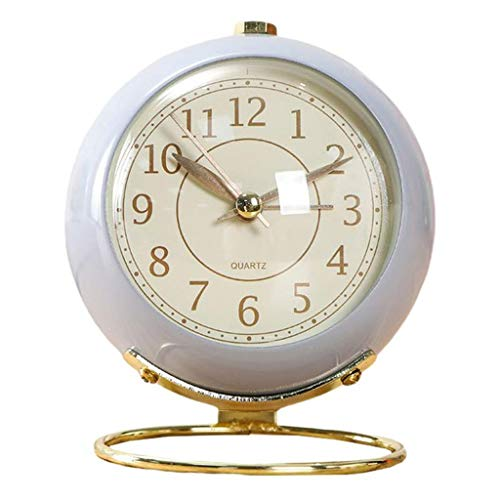 Reloj despertador decorativo de color caramelo de metal estilo retro reloj de escritorio redondo ultra silencioso decoración de escritorio reloj despertador fácil set (color: B)