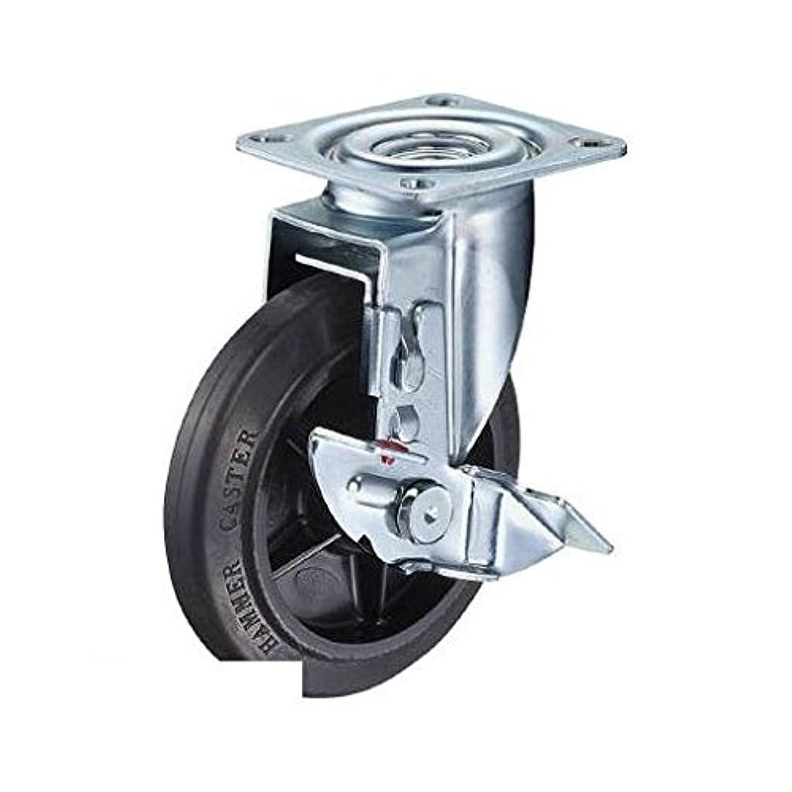 縮約ベルベット聴覚JP62183 2S型 自在ブレーキ付 100mm ナイロンホイルゴム巻車