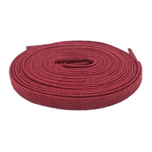 El cordón de 8mm Ancho algodón Encerado Shoestrings Cordones de Zapatos atléticos Plana de Color de los Cordones de algodón para Hombre, 1024 Vino Tinto, 60cm