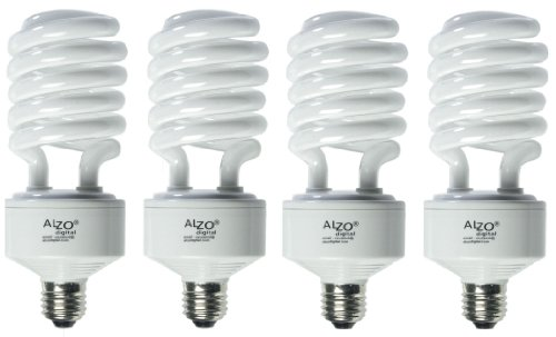 ALZO 45W CFL Video-Lux Photo Light Bulb 3200K, 2800 Lumens, 120V, Pack of 4, Warm White Light Ideal for Practical Lighting, Matches Color Temperature of Incandescent, Kino Flo and Osram Bulbs
