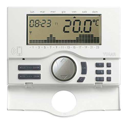 Vimar 01913 Cronotermostato GSM programmabile da parete, con gestione della temperatura da remoto. Alimentazione da rete con batteria tampone