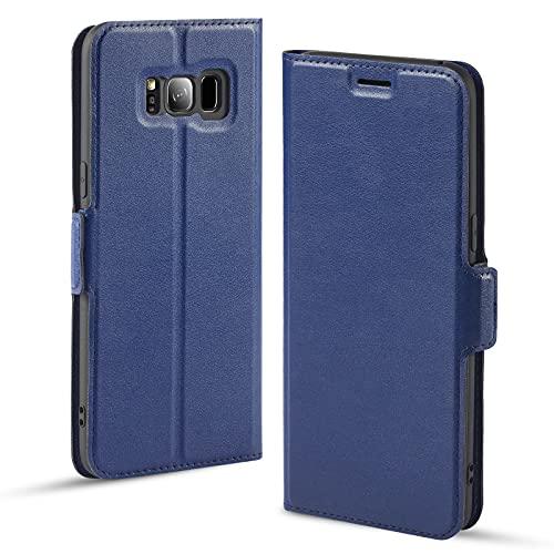 Aunote Handyhülle für Samsung S8 Hülle, Handyhülle Samsung Galaxy S8, Hülle S8, Handyhülle S8, Schutzhülle S8, Tasche S8, Klapphülle S8, Etui Folio, Flip Phone Cover Case, Hülle S8 klappbar. Blau