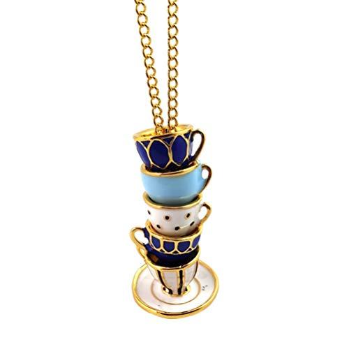 Holibanna Teekanne Teetasse Anhänger Halskette Kreative Emaille Halskette Pullover Kette Glasiert Charme für Frauen Damen
