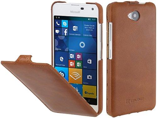 StilGut UltraSlim Hülle, Hülle aus Leder für Microsoft Lumia 650/650 Dual SIM, Cognac