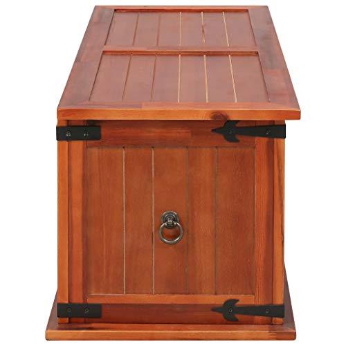 Festnight Aufbewahrungstruhe aus Akazienholz 90 x 45 x 40 cm   Aufbewahrungsbox Holztruhe Auflagenbox Kissenbox Braun - 6