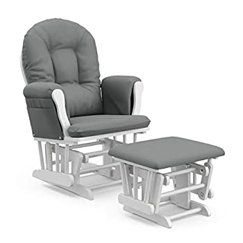 Storkcraft Premium Hoop Glider and Ottoman  White Base Gray Cushion  – Padded Cushions with Storage Pocket Smooth Rocking Motion Easy to Assemble Solid Hardwood Base