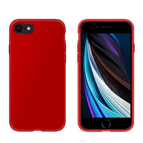PETERONG Funda de Silicona Líquida para iPhone SE 2020, Carcasa Protección de Cuerpo Completo Carcasa Antichoque Anti-Rasguño para iPhone 7 / iPhone 8 / iPhone SE (2020) 4.7 Pulgadas(Rojo)