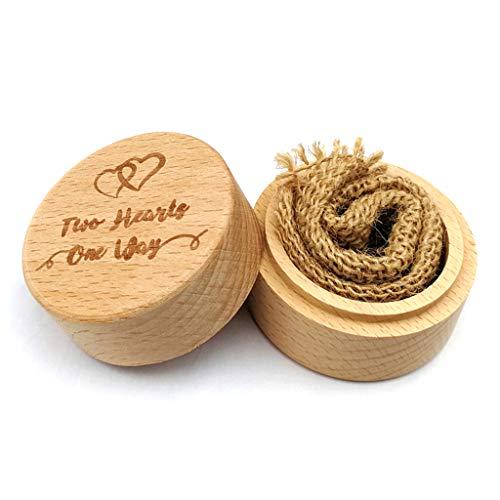 Koehope Houten trouwring doos voor sieraden, opbergdoos voor sieraden en sieraden, op maat gemaakte ringen, met linnen doek voor verloving, huwelijk, cadeau