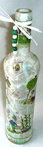❤ Leuchtflasche ❤ beleuchtete Flasche ❤ GARTENZWERGE ❤ weiß ❤ 34cm ❤