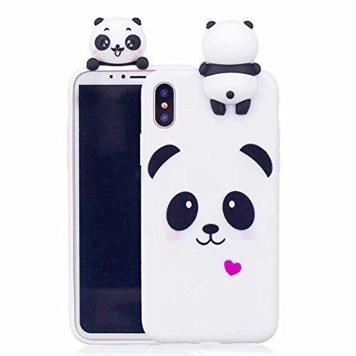 LeviDo Coque Compatible pour iPhone XS Max Étui Silicone Cute 3D Panda Modèle Souple Bumper TPU Gel Caoutchouc Antichoc Cover pour Fille Homme Femme, Panda
