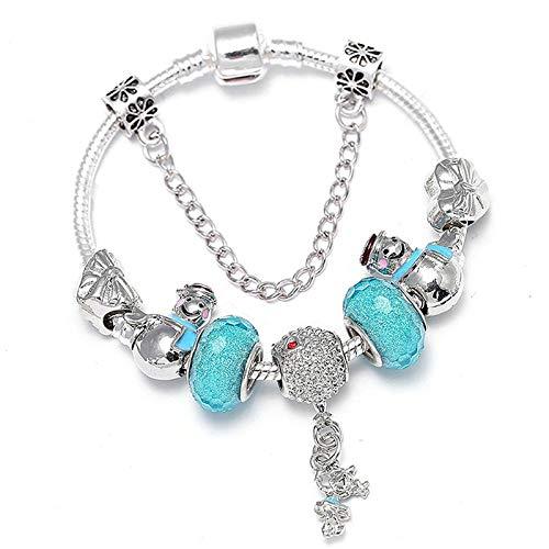 JINKEBIN Pulsera Boosbiy Plateado Plateado Crystal Charms Pulsera para Mujeres con Cadena de Seguridad Pulsera de la Marca Bangle Día de la Madre BA350 (Length : 20cm, Metal Color : C31)