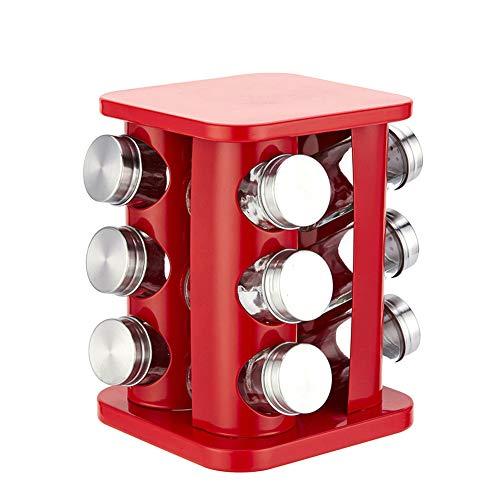 Kruidenpot Set, 12 Stks Keuken Glas Kruiden Zout Peper Suikerpotten + RVS Rack Rood