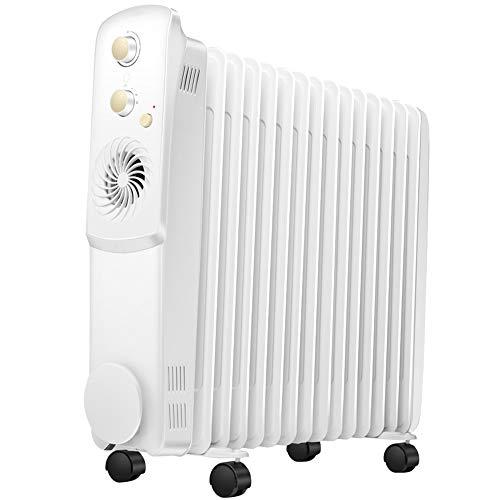 XKHG Heizkörper - 2700W 15 Fin Portable Electric Slim Heater - 3 Leistungsstufen, Einstellbare Temperatur/Thermostat, Sicherheitsabschaltung
